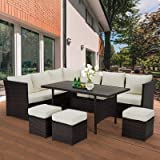 U-MAX 7 Pieces Outdoor Sofa Set, Wicker Rattan Patio Sectional Furniture Sets, Wicker Sectional Patio Set, Patio Dining Furni