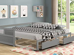 Daybed with Trundle and Two Storage Drawers, Extendable Wood Twin Size Trundle Daybed with Roll Out Bed Frame, Teens Adults Dual-use Sturdy Sofa Bed for Bedroom Living Room (Gray)
