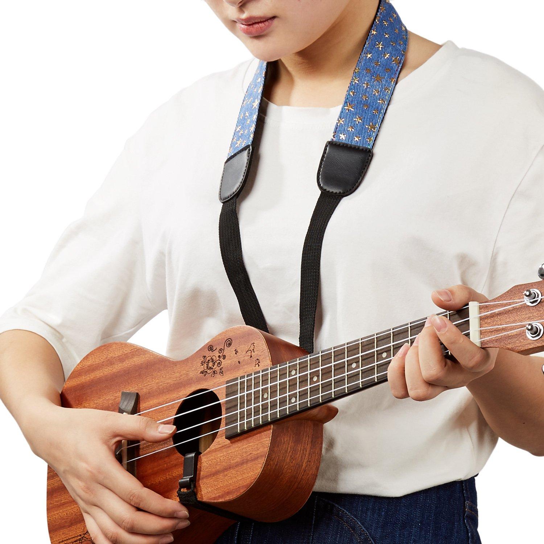 Mugig CorreaUkelele Ajustable Material de Denim Hecho con Mano Resistencia Perfecto para Guitarra Pequeña