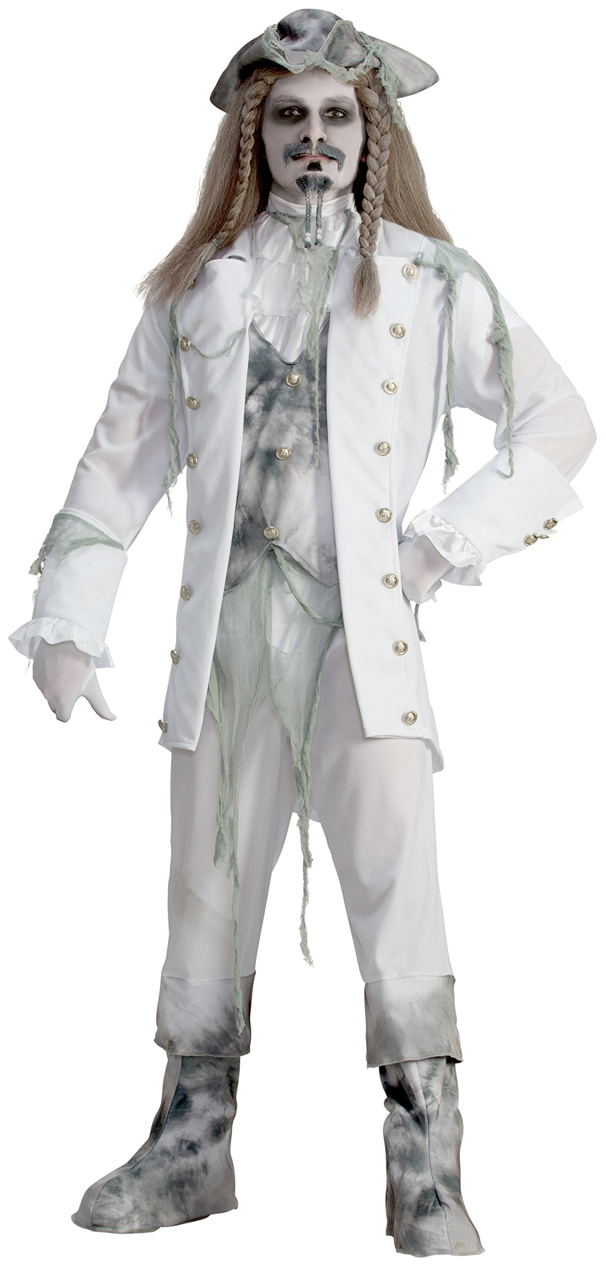 Forum Novelties Men's Ghost Captain Costume, White/Gray, One Size
