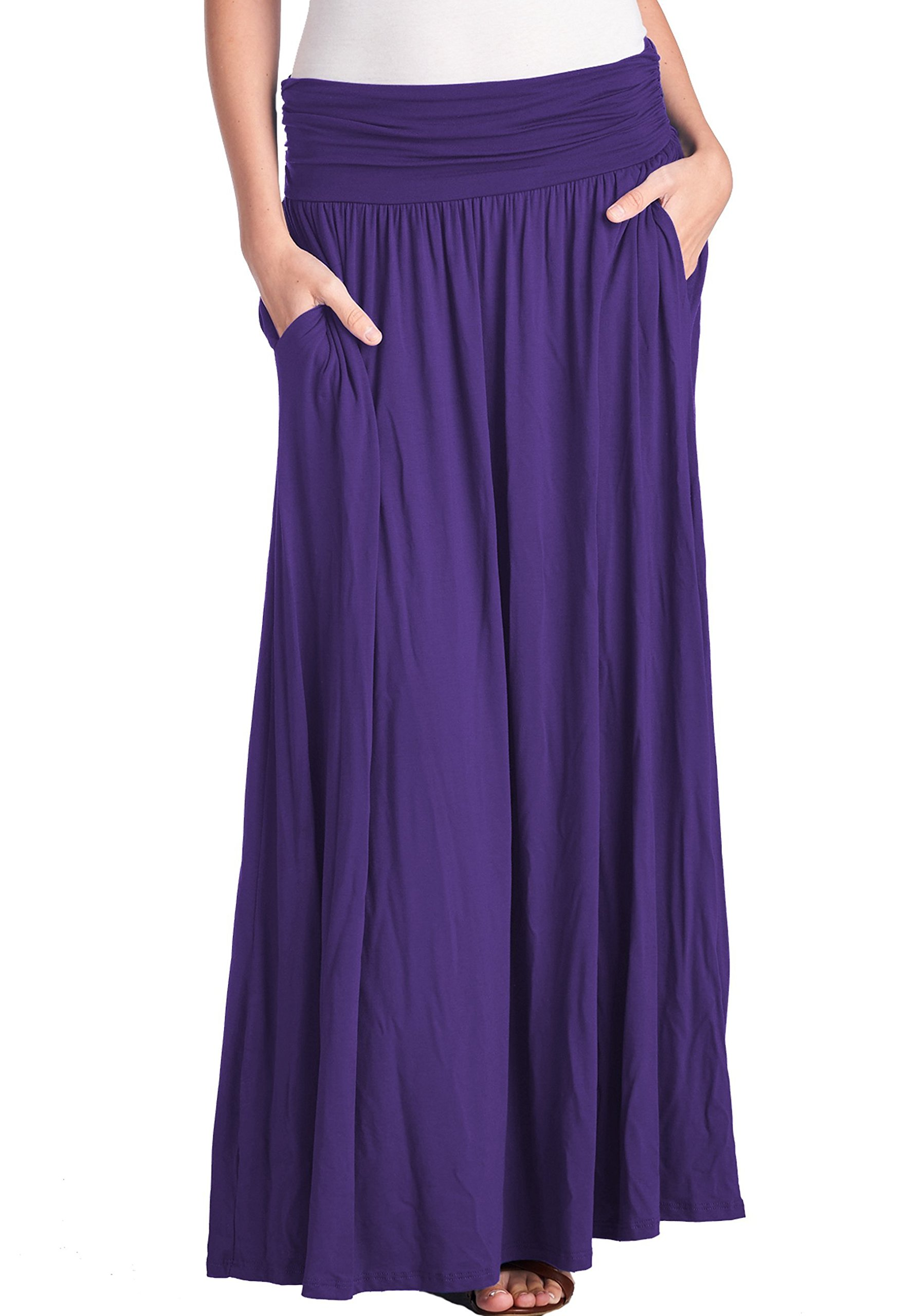 TRENDY UNITED Women's High Waist Fold Over Shirring Maxi Skirt with Pockets ,Eggplant-maxi,Small