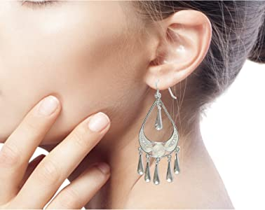 NOVICA .925 Sterling Silver Long Chandelier Earrings, Rain'