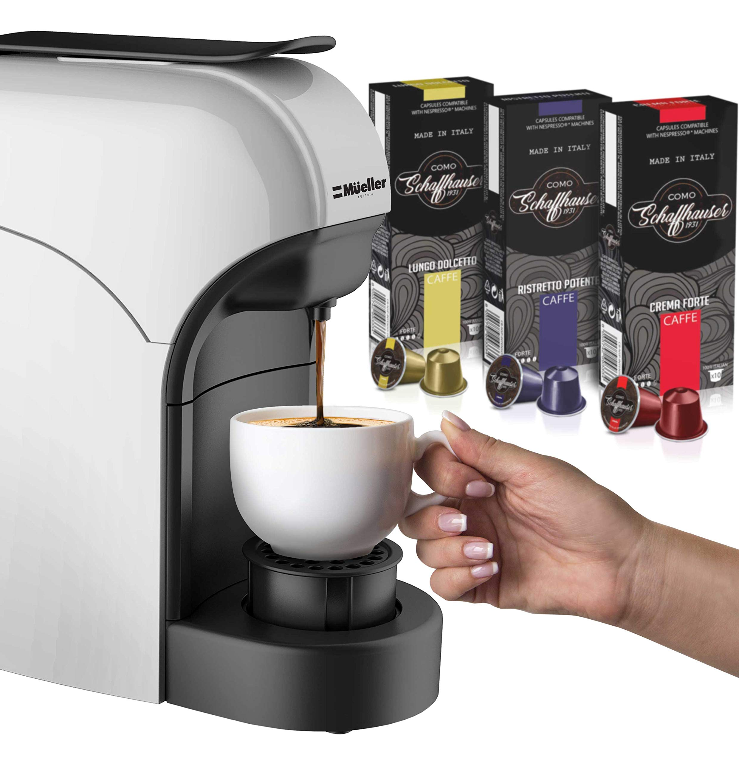 Mueller Espresso Machine for Nespresso Compatible Capsule, Premium Italian 20 Bar High Pressure Pump, 25s Fast Heating with Energy Saving System, Programmable Buttons for Espresso and Lungo, 1400W by Mueller Austria (Image #6)
