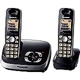 "Panasonic KX-TG6522GB - Teléfono DECT dúo (pantalla 1.8"", agenda 100 entradas), negro"