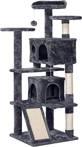 Topeakmart 54 H Deluxe Multi Level Cat Tree Condo with Fur Balls Kitten Furniture