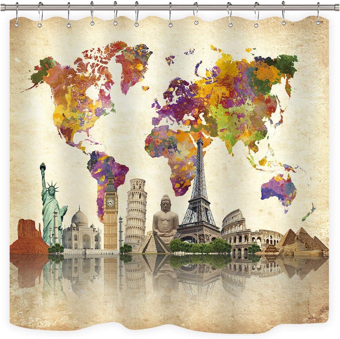 Riyidecor Vintage World Map Shower Curtain Wanderlust Landmark Spot Cultural Statue of Liberty Big Ben Decor Fabric Set Polyester Waterproof 72x72 Inch with 12 Pack Plastic Hooks