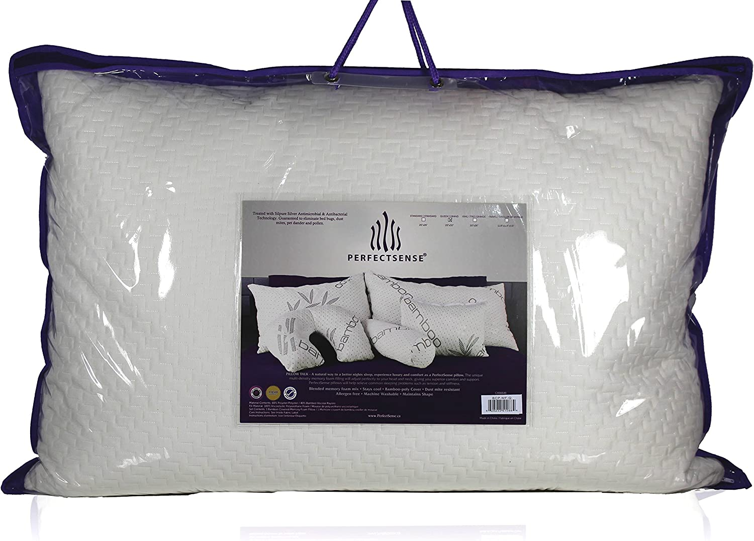 1X Bamboo Fiber Pillow Hypoallergenic Cool Memory Foam Bed Cushion With Bag King