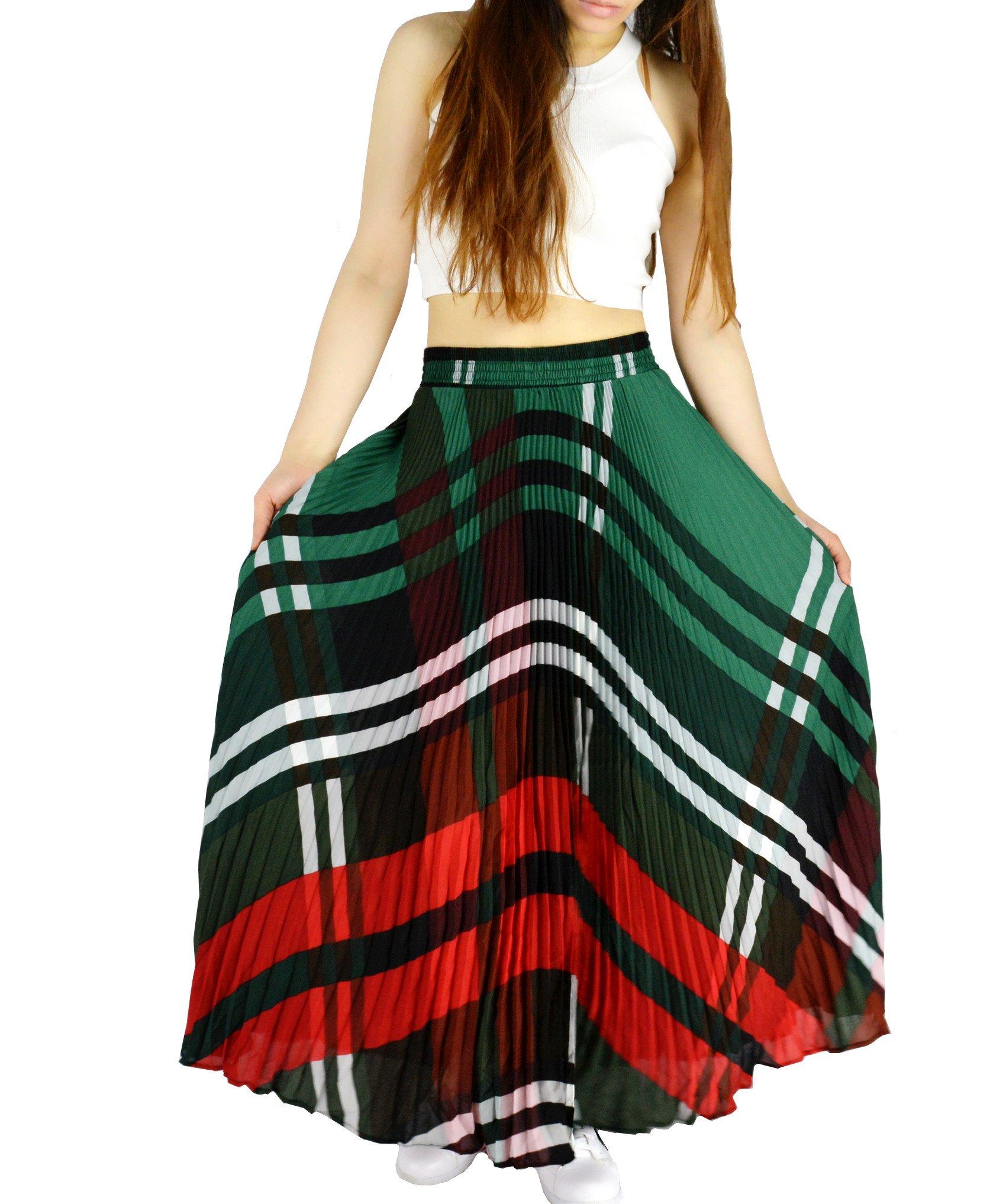 YSJ Womens Plaid Long Maxi Skirt - 360 Sunray Pleated Bohemian Full Skirt Skirts 1640