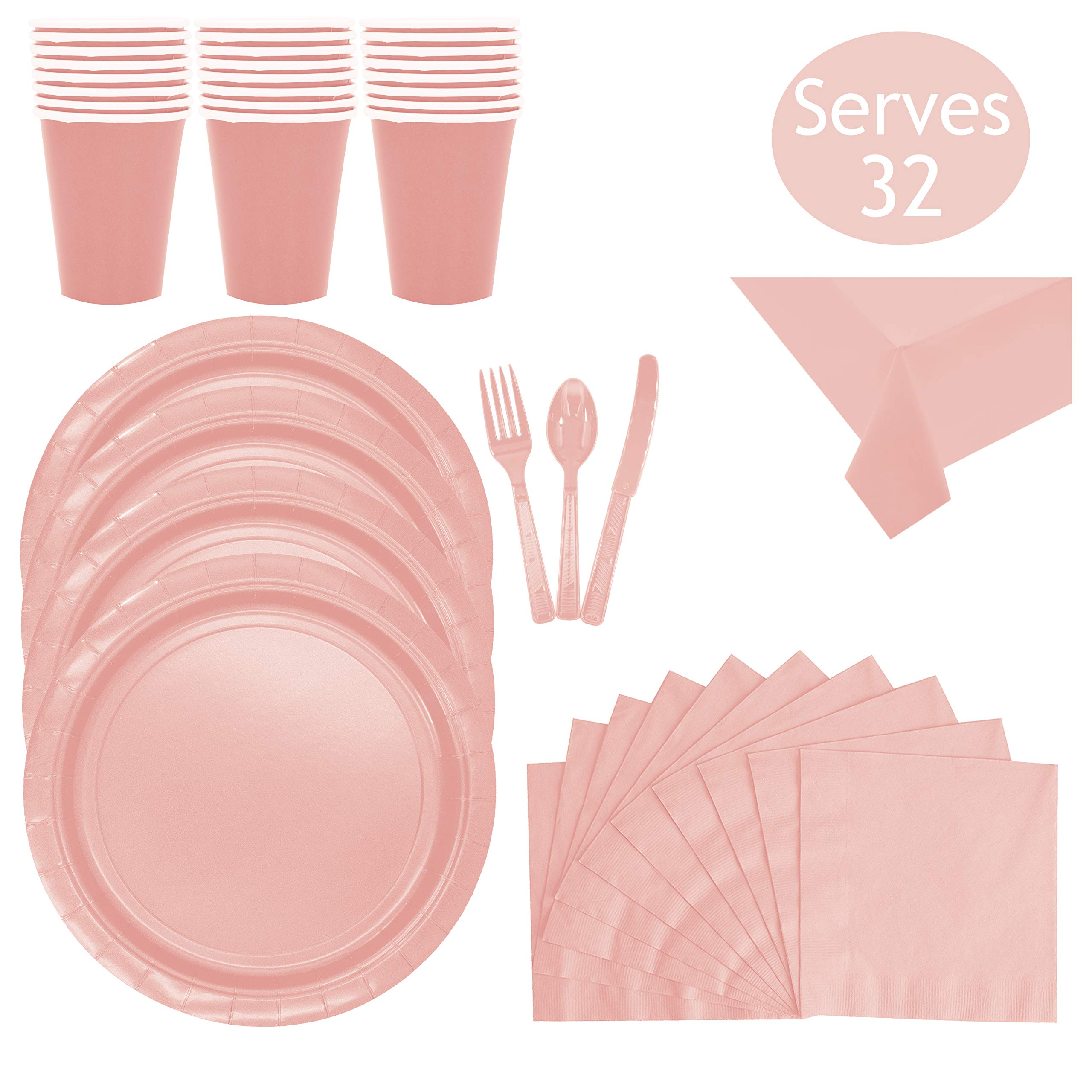 Disposable Pink Dinnerware Party Supplies - Serves 32 - Includes Pink Plastic Forks, Spoons, Knives, Napkins, Paper Cups Plates and two Table Clothes