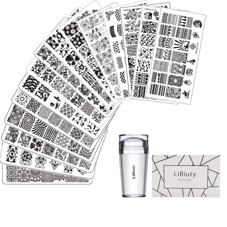 15pcs Nail Stamping Plates + 1 Stamper + 1 Scraper Lace Flower Animal Pattern Nail Art Stamp Stamping Template Image Plate Nail Art Stamper Scraper Nails Tool…