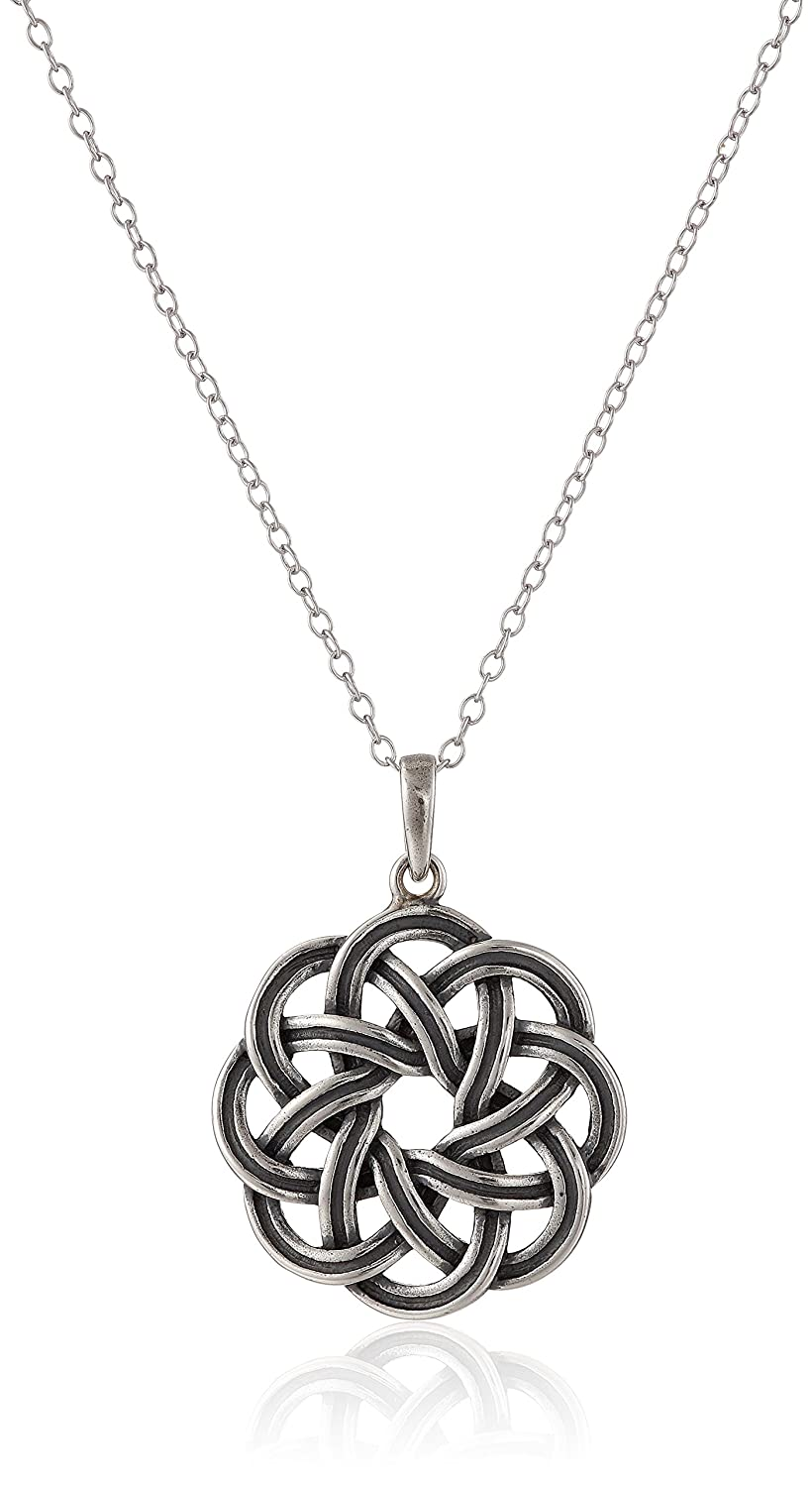 """Sterling Silver Oxidized Dara Celtic Knot Pendant Necklace, 18"""""""