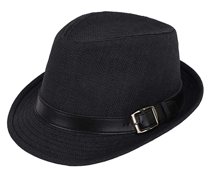 4ed038c7822e31 Simplicity Panama Style Fedora Straw Sun Hat with Leather Belt,Black SM
