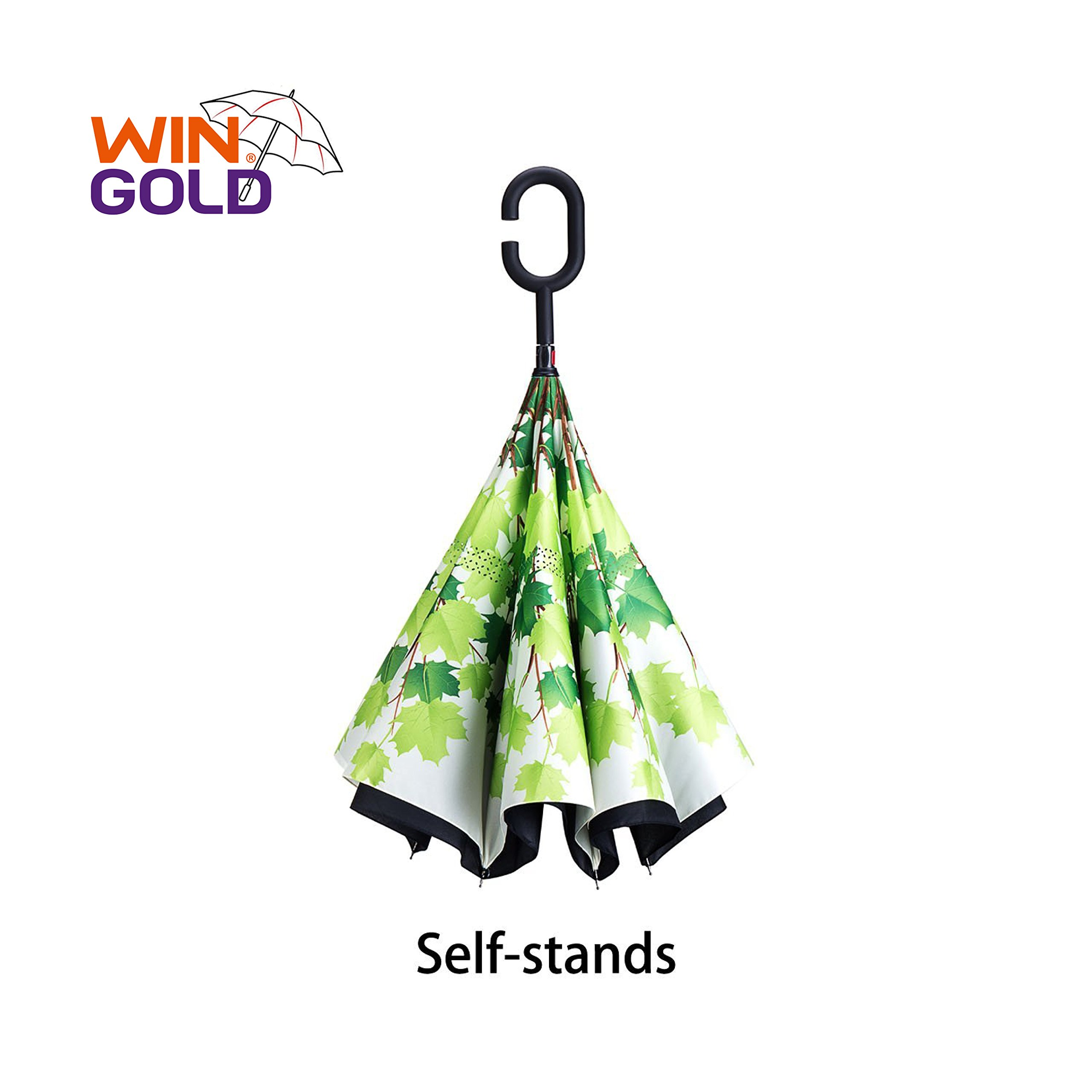 WinGold Double Layer Inverted Umbrellas Reverse Folding Umbrella Windproof UV Protection Big Straight Umbrella with C-Hook Handle for Cars Rain Outdoor (Maple leaf)