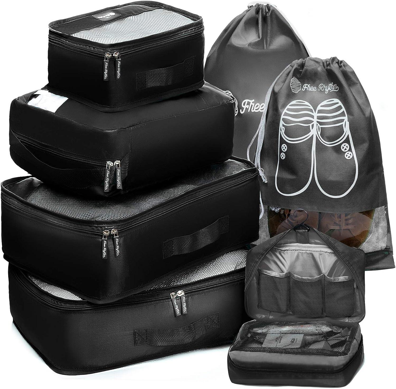 Packing Cubes Travel Set 7Pc 2 Large Cube Organizer Laundry Shoe & Toiletry Bag