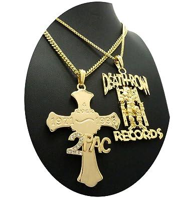 Amazon hip hop 2pac 4 ever cross deathrow records pendant hip hop 2pac 4 ever cross deathrow records pendant cuban box chain necklace aloadofball Choice Image