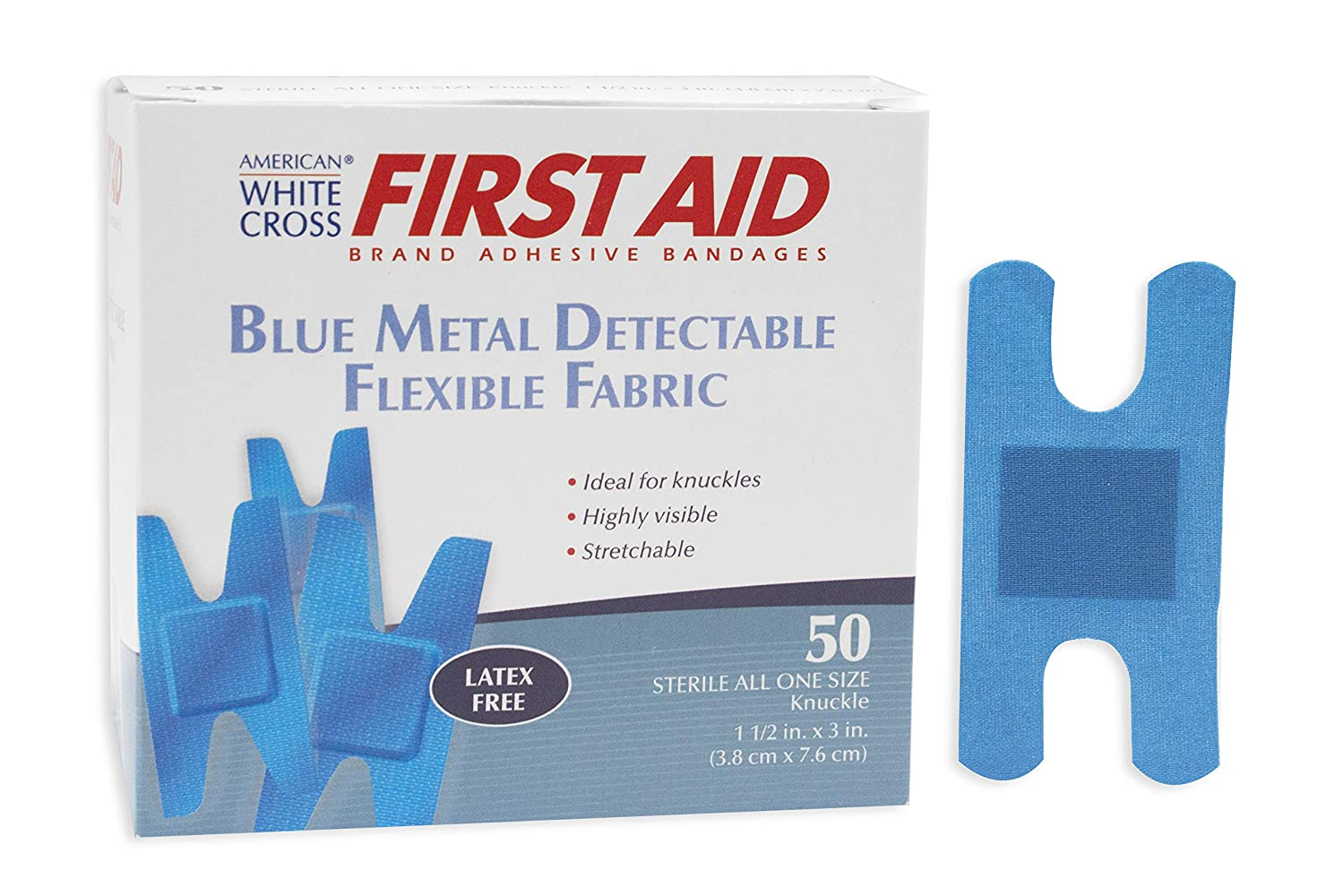 Image of American White Cross Blue Metal Detectable Adhesive Strips, Sterile, Lightweight 1-1 per 2' x 3' Knuckle Bulk Singles, 1 per Pack, 1800 Pack per Case (Pack of 1800)