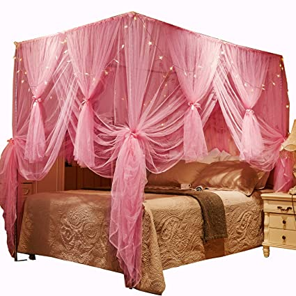 look out for the best attitude reasonable price Nattey 4 Corners Post Canopy Bed Curtains for Girls Boys & Adults - 4  Opening - Bedroom Decorative(Full, Pink)