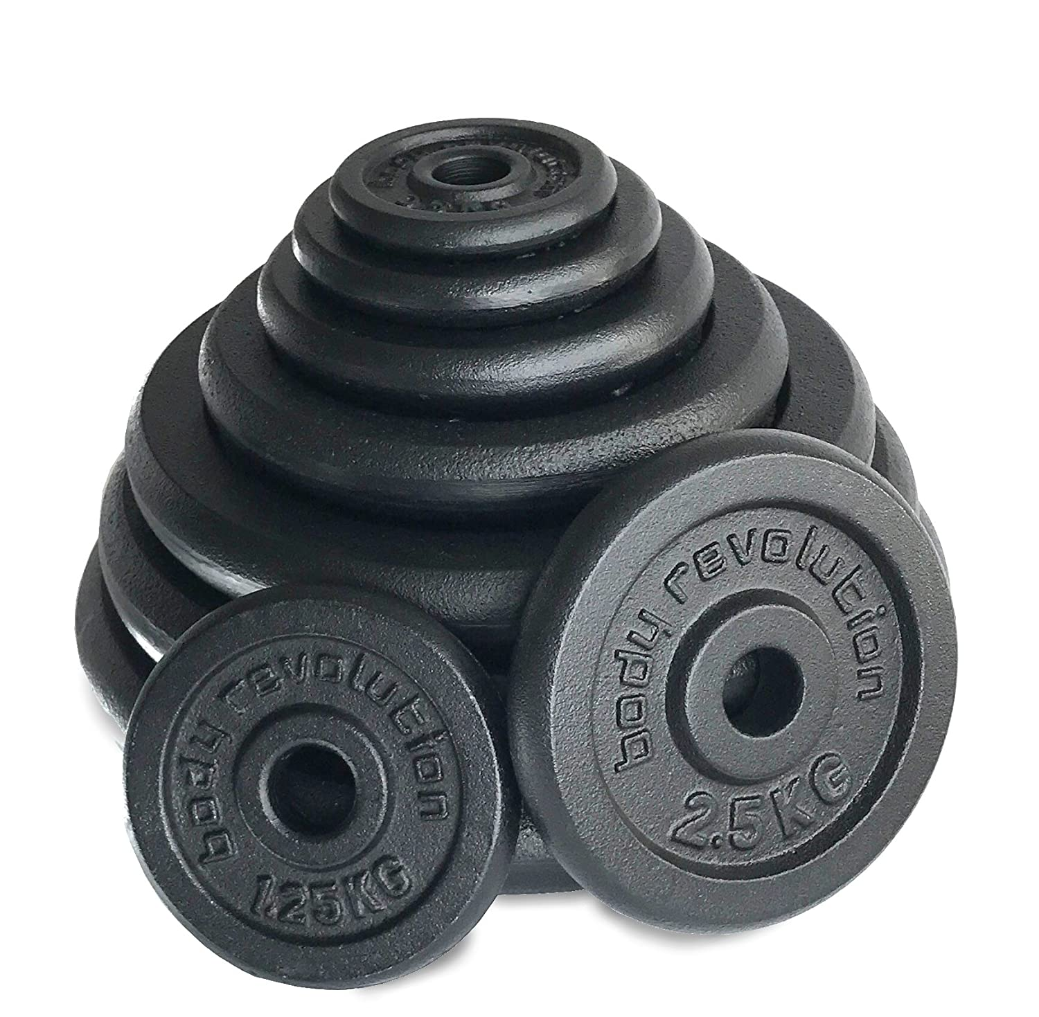 0.5kg Body Revolution Cast Iron Free Weight Plates 25kg Pairs Various Sizes