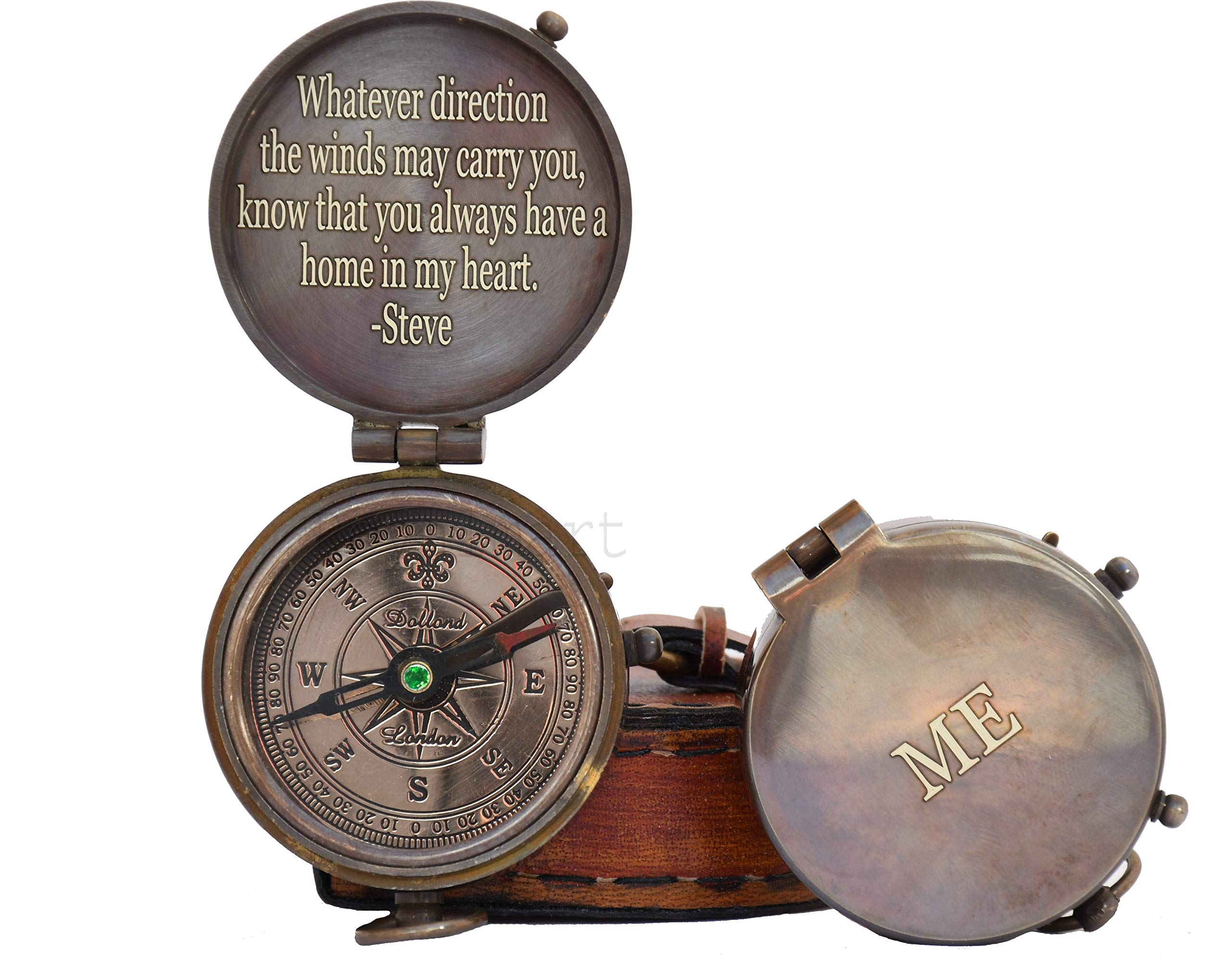 Engraved Compass Personalized Compass Antique Compass Custom Gift Brass Compass Gift for Graduation, Anniversary, Baptism, Retirement, or Christmas - Vintage Style Working Compass