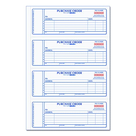 rediform carbonless purchase order book numbered 275 x 7 inches 400 duplicate sets