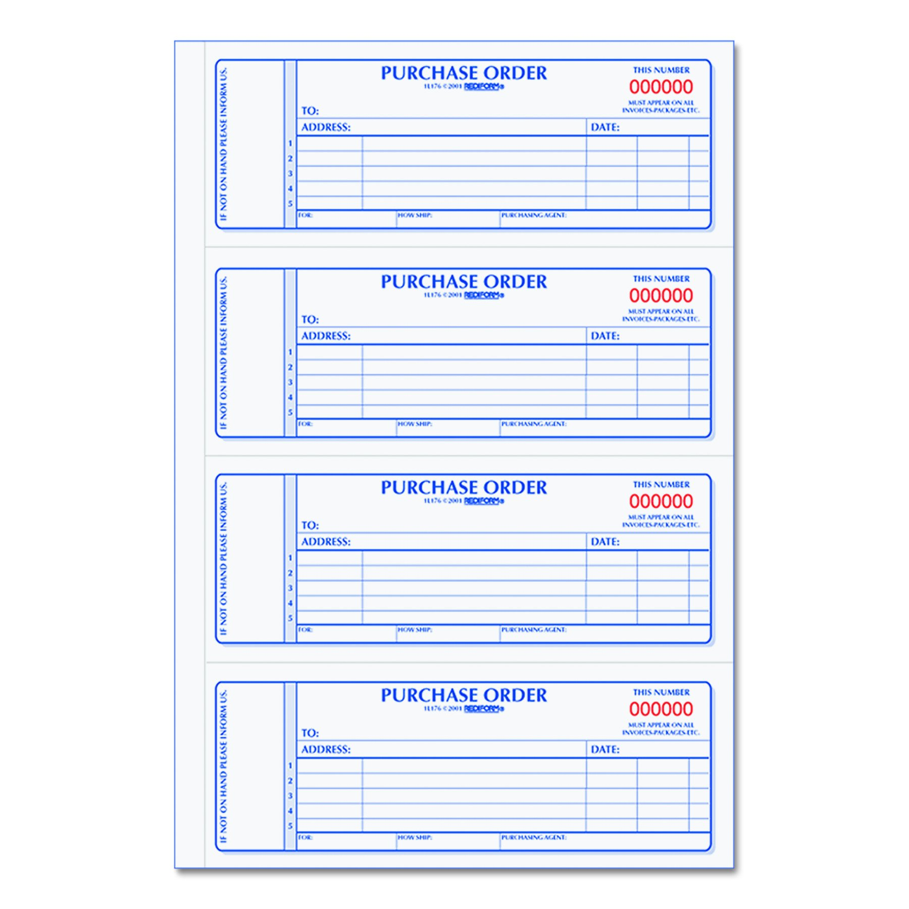 Rediform Carbonless Purchase Order Book, Numbered, 2.75 x 7 Inches, 400 Duplicate Sets (1L176)