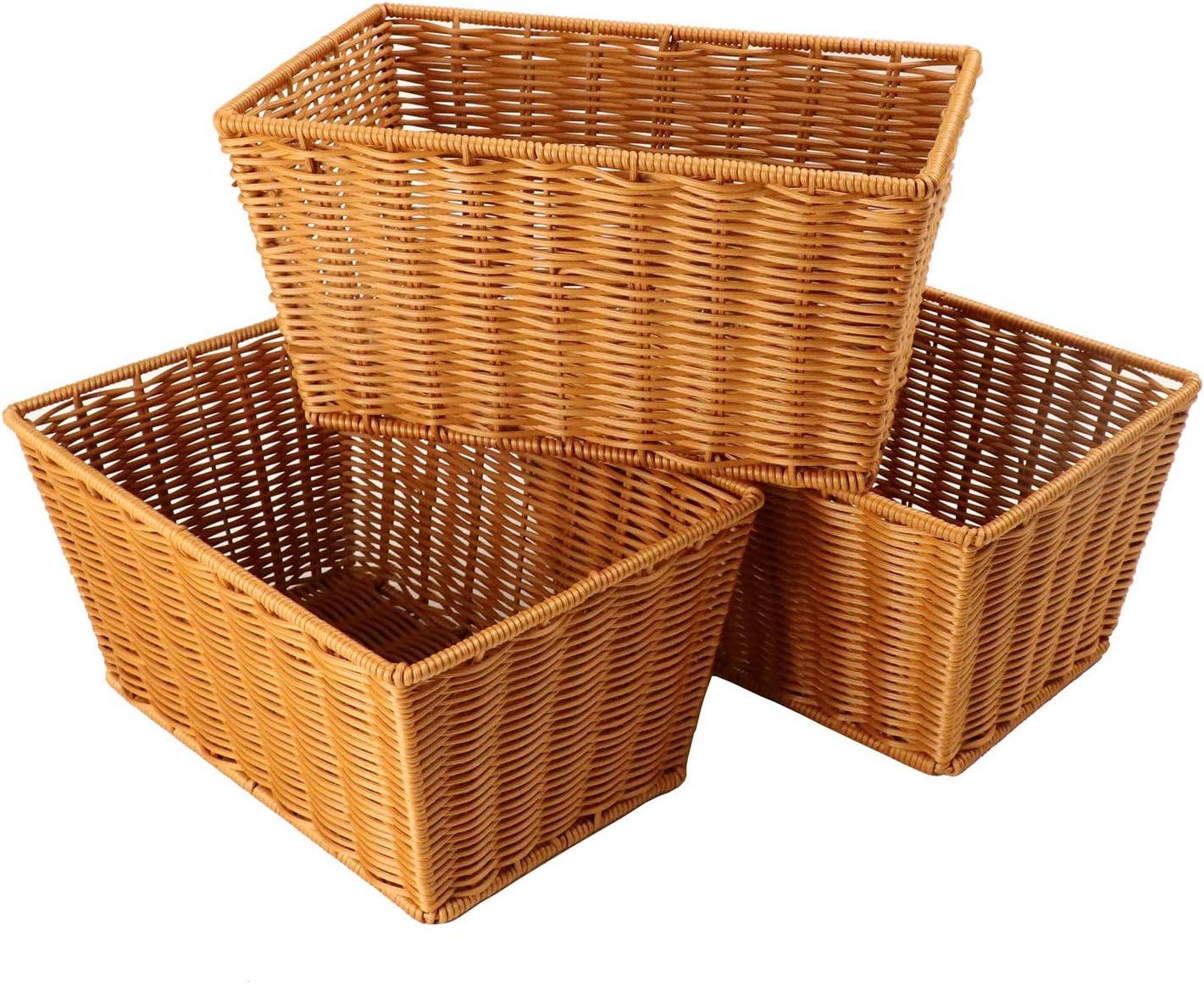 Grandtobuy 3 paquetes de 30 x 20 x 15 cm de mimbre de poliéster cesta de almacenamiento para frutos fritos, alimentos, pan, verduras, libro para organizar cesta de almacenamiento