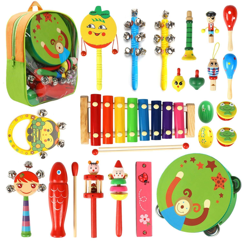 CRZKO Instrumentos Musicales para niños 22 en 1 Juguete para niños Mini Banda Percusión de Madera