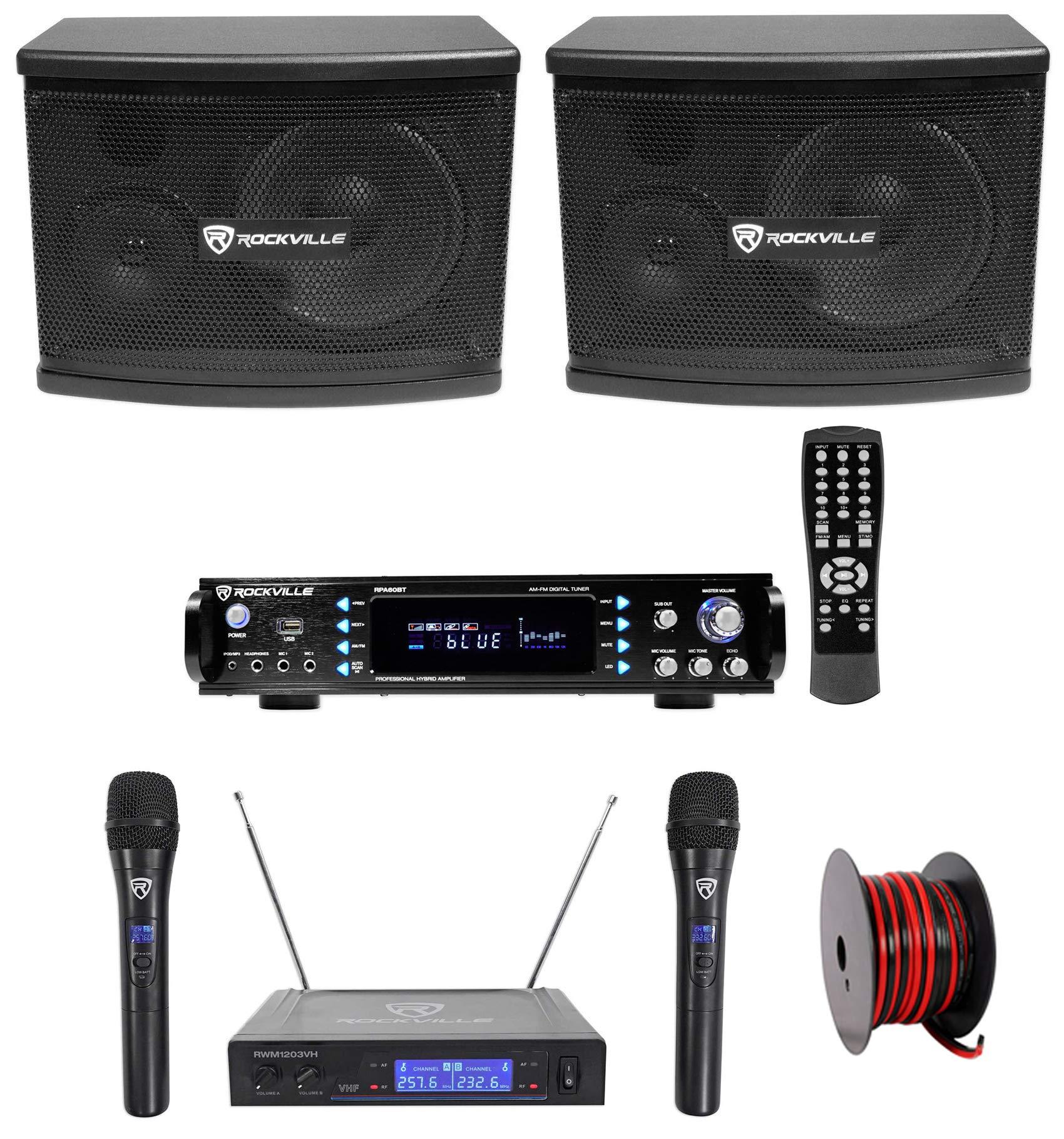 (2) Rockville KPS65 6.5'' 400w Karaoke/Pro Speakers+Bluetooth Amp+Wireless Mics