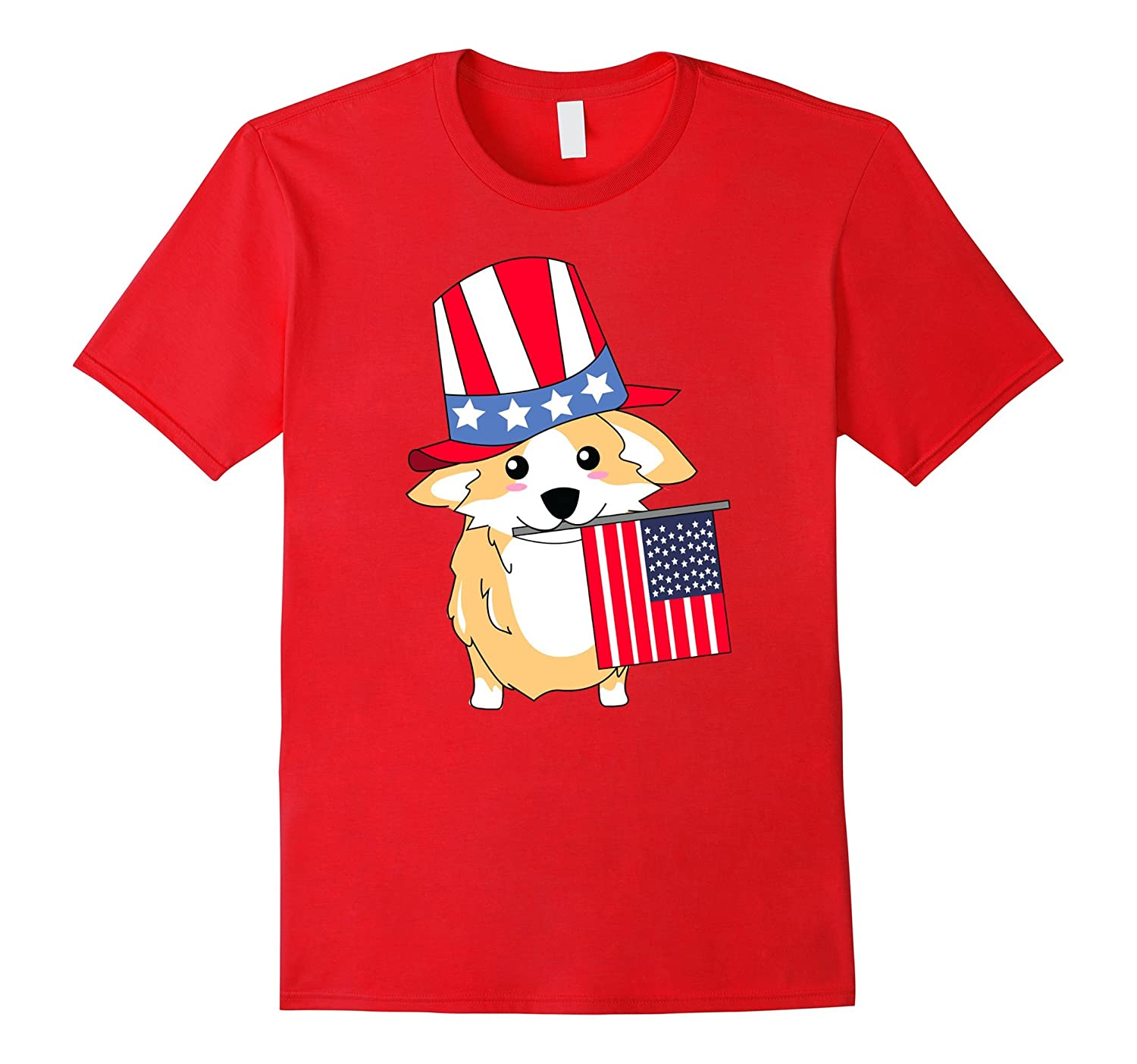 Cute American Corgi Fourth of July Graphic Tee-PL