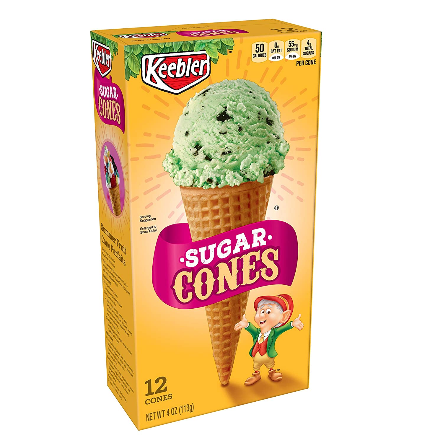 Keebler Ice Cream Cones, Sugar, 4 oz (12 ct)