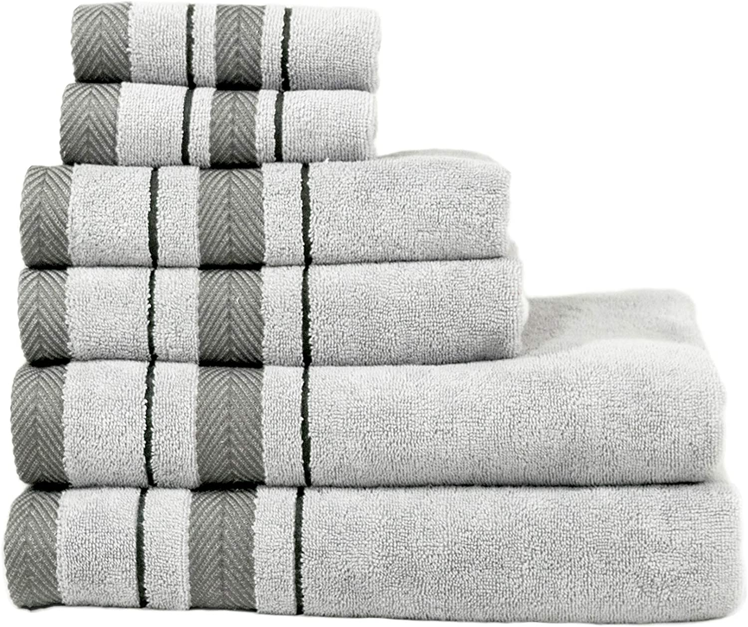 La Serna 6 Piece Towel Set, Combed Cotton 650 GSM, Ultra Soft Luxurious Gray Color, 2 Bath Towels, 2 Hand Towels, 2 Washcloths, Super Absorbent, Machine Washable
