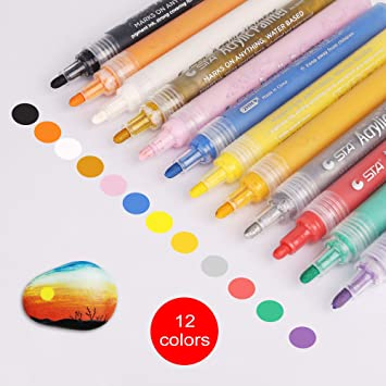 DIY Crafts Permanent Paint By Number Pens Painting Marker Pen School Tools