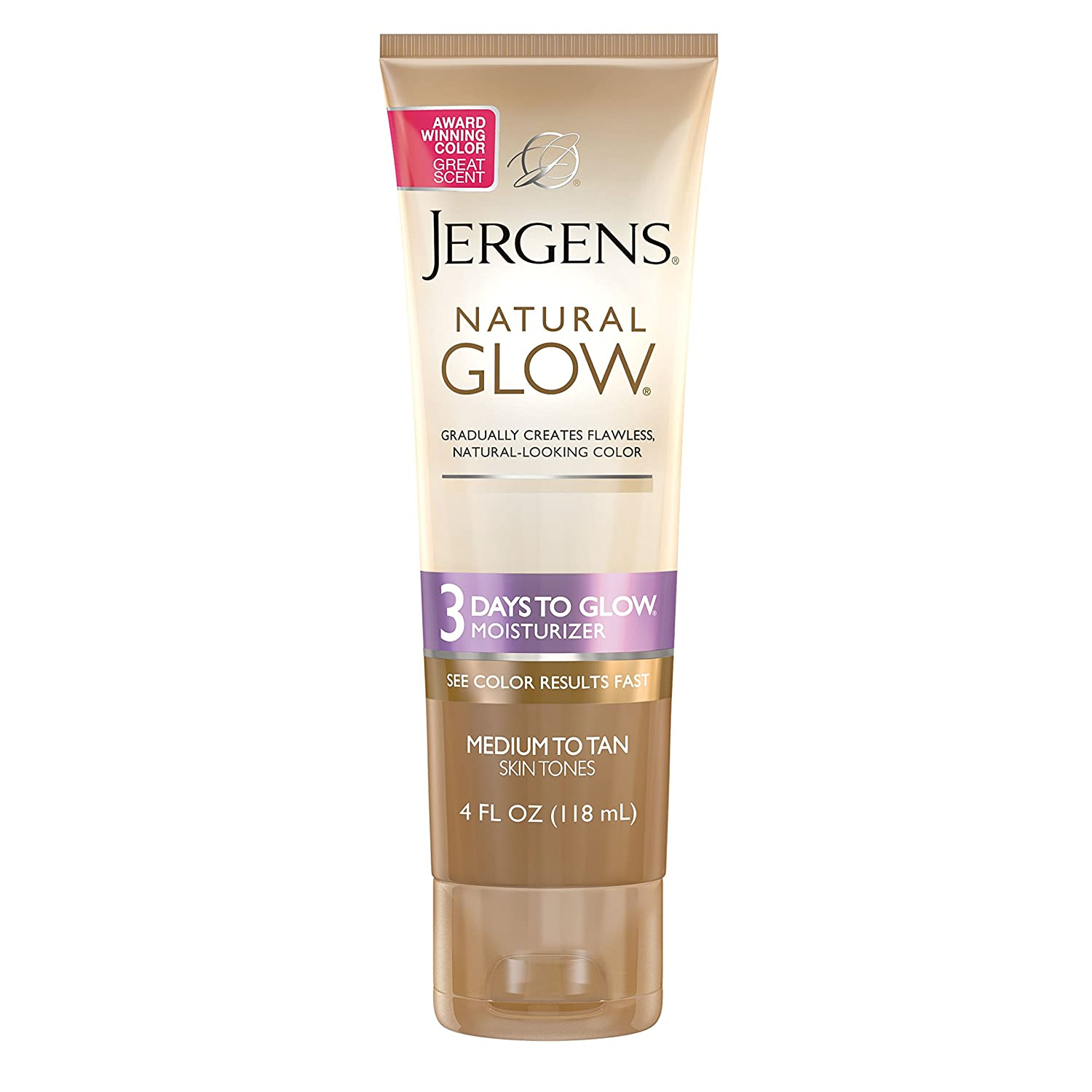 Jergens Natural Glow 3 Days to Glow Moisturizer, Medium to Tan Skin Tones, 4 Ounce KAO Brands boi-opp-klo-uyi6765