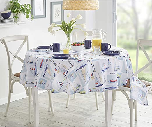 Amazon Com Elrene Home Fashions Sail Away Nautical Sailboat Stain Resistant Spill Proof Indoor Outdoor Spring Summer Tablecloth 70 Round Home Kitchen