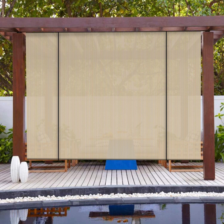 Amazon Com Patio Paradise Roll Up Shades Outdoor Roller Shade 7 Wx6 H Pergola Shade Blind Pull Shade Privacy Screen Porch Deck Balcony Pergola Trellis Carport Beige Garden Outdoor