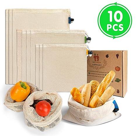LAPPAZO Bolsas Reutilizables de Compra para Frutas Verduras Juguete y Granos, Bolsas Ecologicas Algotón Material Orgánico Degradable (3XL 3xM 3XL ...
