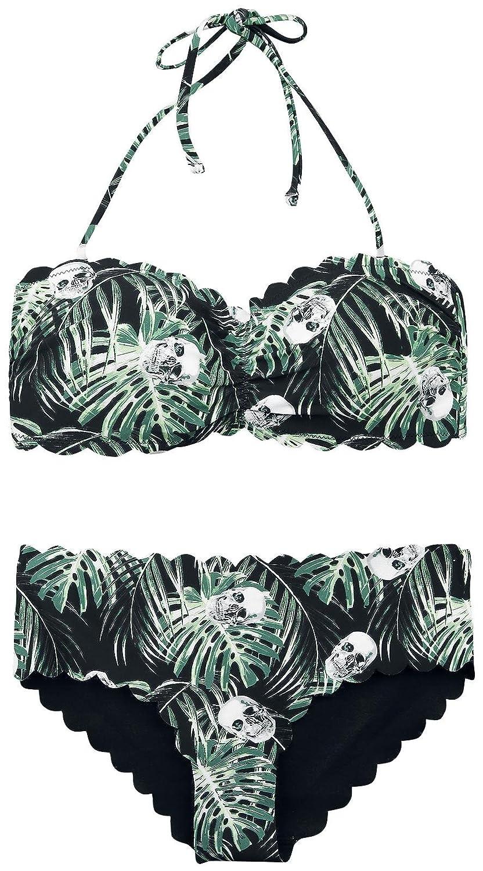 Full Volume by EMP Dschungel Skulls Bandeau Bikini Set Bikini schwarz