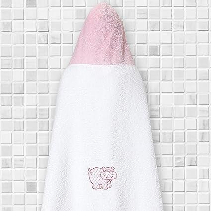 Toalla para Niñas Blanca con un Hipopótamo Bordado a juego con la Capucha Rosa / La