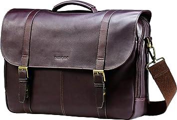 Samsonite Flap-Over Colombian Leather Messenger Bag, Brown