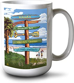 product image for Lantern Press Kauai, Hawaii - Destinations Sign (15oz White Ceramic Mug)