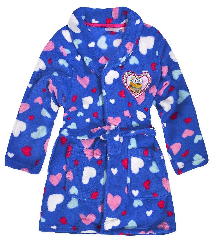 Girls Minions Dressing Gown Kids Fleece Bath Robe Pink