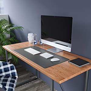 Uncrowned Kings Desk Pad - 35.4 X 17.7 Inches Premium Home Office Desk Mat Protector for Wooden, Glass Desktops - Dark Gray Vegan Leather - Waterproof - Extended Mouse Pad-Smooth for Writing