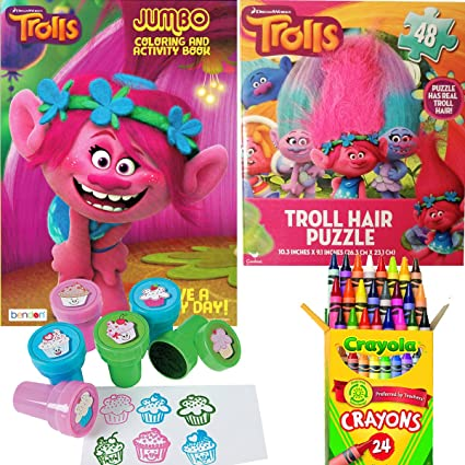 amazon com dreamworks trolls coloring book puzzle and stamper