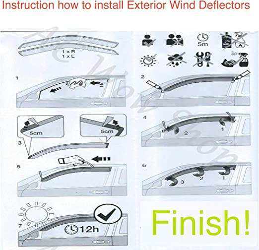 AC WOW 2x compatible with Mercedes V-class Vito Viano W639 2003 2014 Wind Deflectors Dark Smoke Tinted Acrylic Glass Door Side Windows WeatherShields Visors Rain Snow Sun Guards