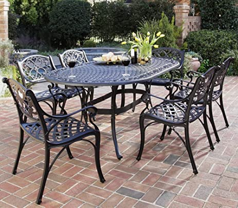 Home Styles 5554 338 Biscayne 7 Piece Outdoor Dining Set, Black Finish