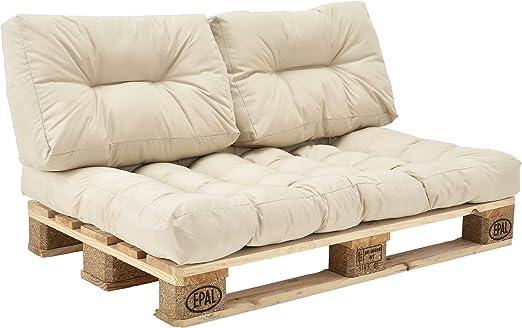 [en.casa] Set de 3 Cojines para sofá-palé - cojín de Asiento + Cojines de Respaldo Acolchados [Beige] para europalé In/Outdoor: Amazon.es: Jardín