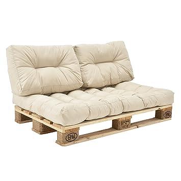 [en.casa]®] Set de 3 Cojines para sofá-palé - cojín de Asiento + Cojines de Respaldo Acolchados [Beige] para europalé In/Outdoor