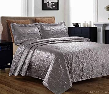 Amazon.com : 3 Piece Silky Satin Gray Quilted Bedspread Coverlet ... : gray quilted bedspread - Adamdwight.com