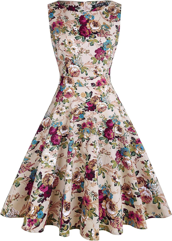 oten Women's Vintage 1950s Tea Dress Floral Spring Garden Party Rockabilly Cocktail Swing Dresses