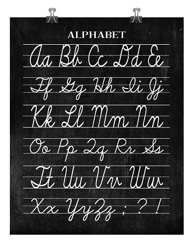 Vintage Cursive Alphabet Classroom Poster Chalkboard Word Art Print